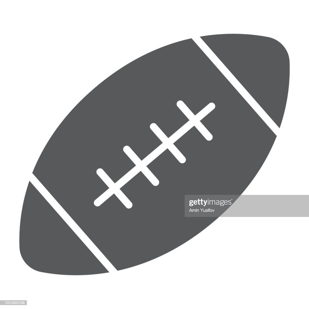 American football ball glyph icon, game and sport, ball sign, vector graphics, a solid pattern on a white background, eps 10.