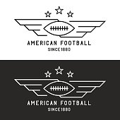 American football ball logo, flying with wings, sport tournament emblem