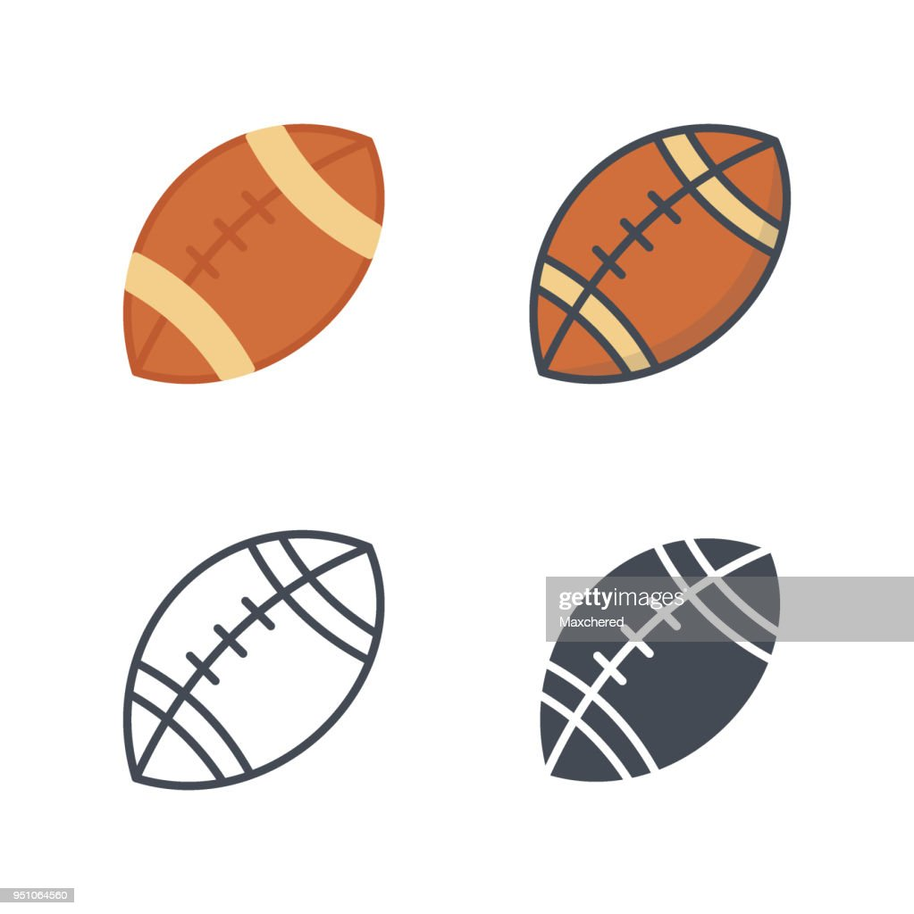American football ball thanksgiving holidays icon vector flat icon silhouette line colored