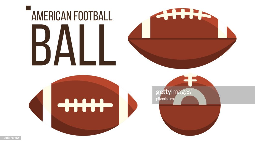 American Football Ball Vector. Rugby Sport Equipment. Different View. Isolated Flat Illustration