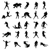 American Football Black Vector Silhouettes Illustration