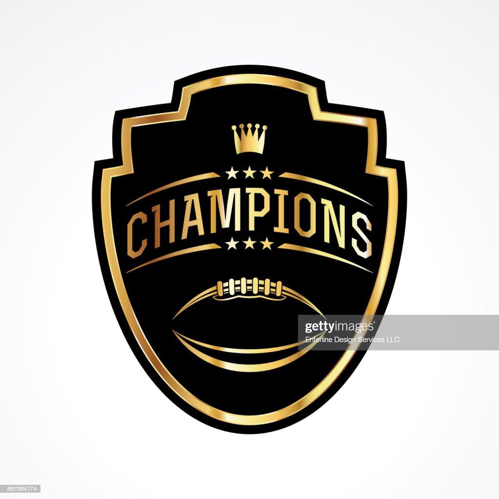 American Football Champions Badge Emblem Illustration
