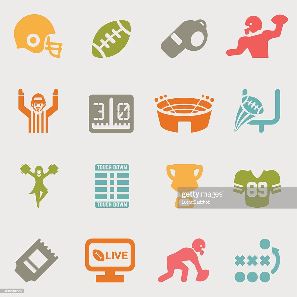 American Football color variation icons | EPS10 : stock illustration