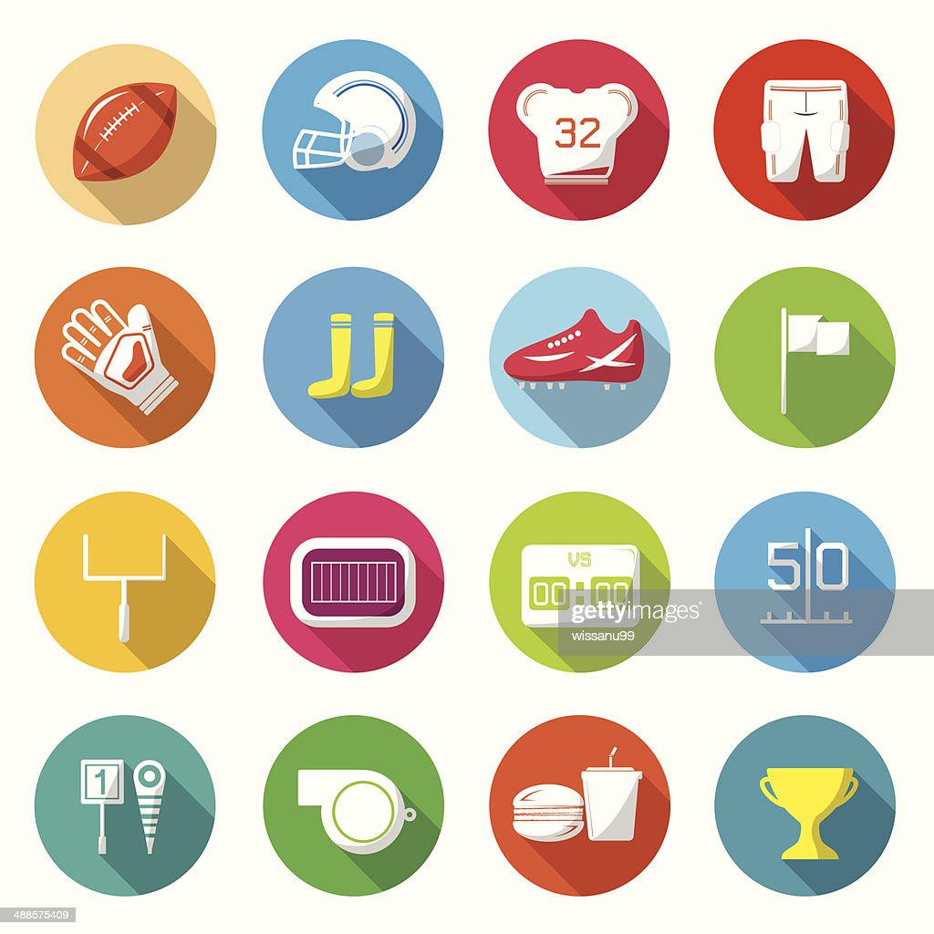 American football Colorful icons Vector