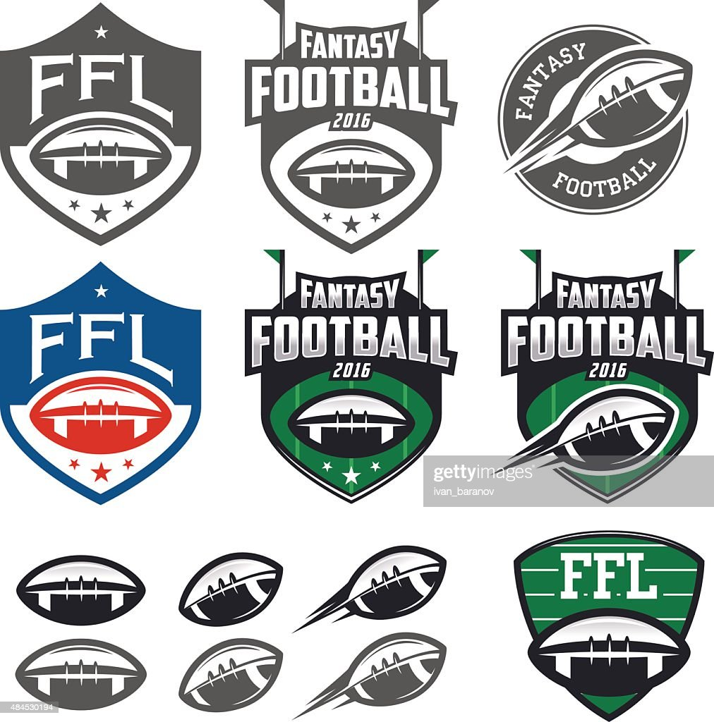 American football fantasy league labels, emblems and design elements