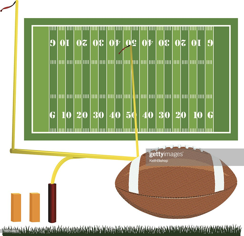 American Football Field, Ball and Goal Post