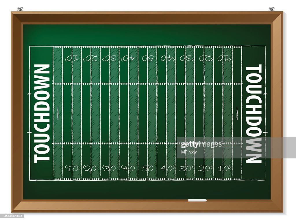 American football field drawn on chalkboard