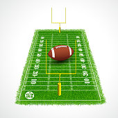 American football field perspective view with realistic grass textured, Vector