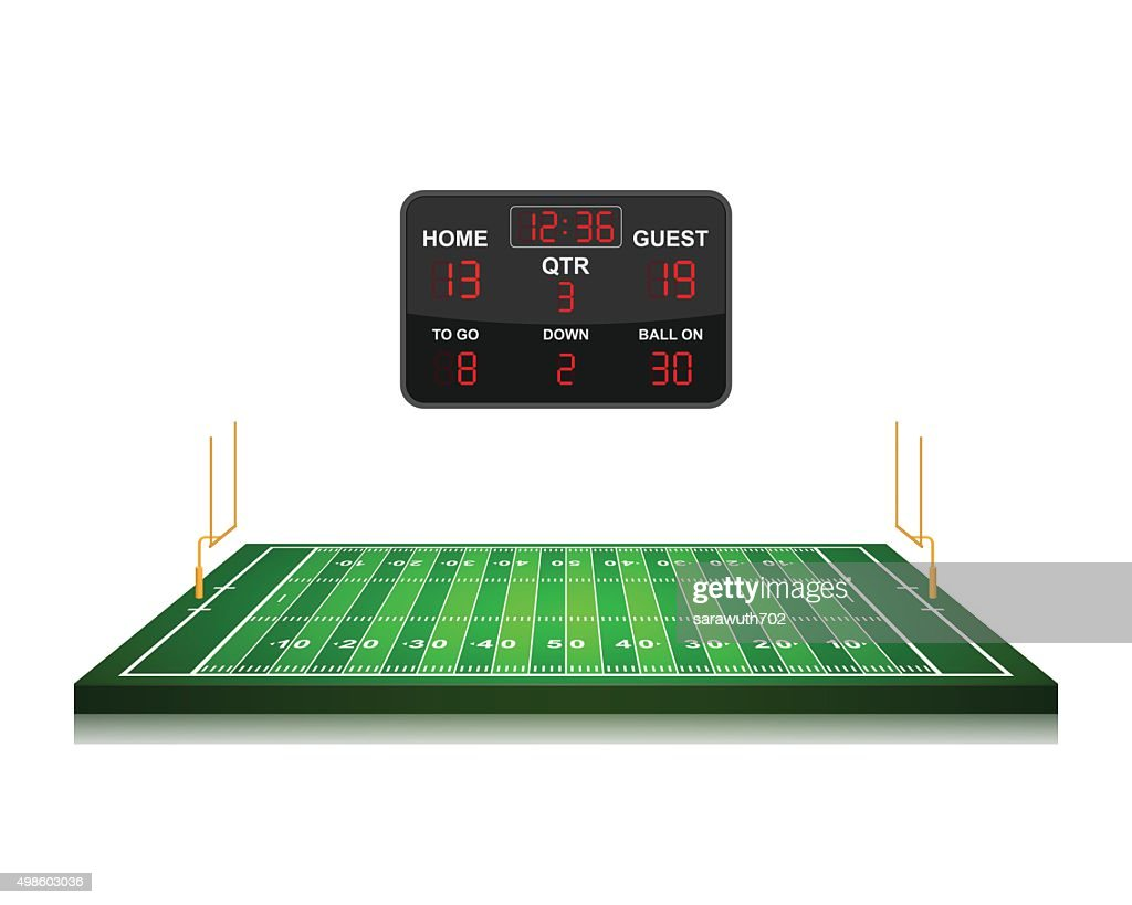 American Football field with scoreboard,vector