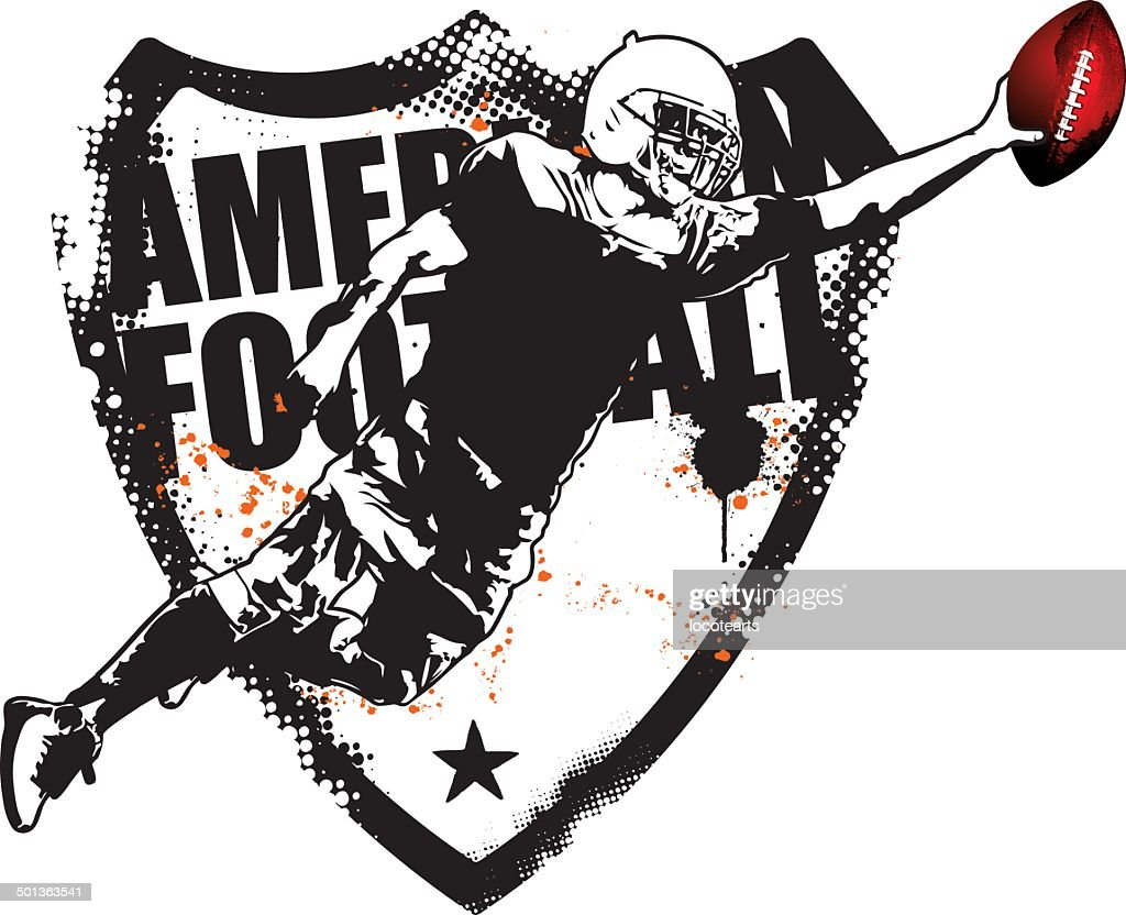 american football grunge shield with player jumping
