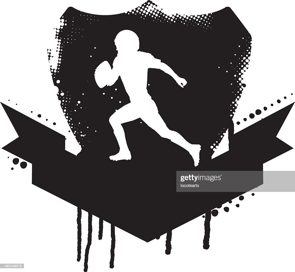 american football grunge shield with player