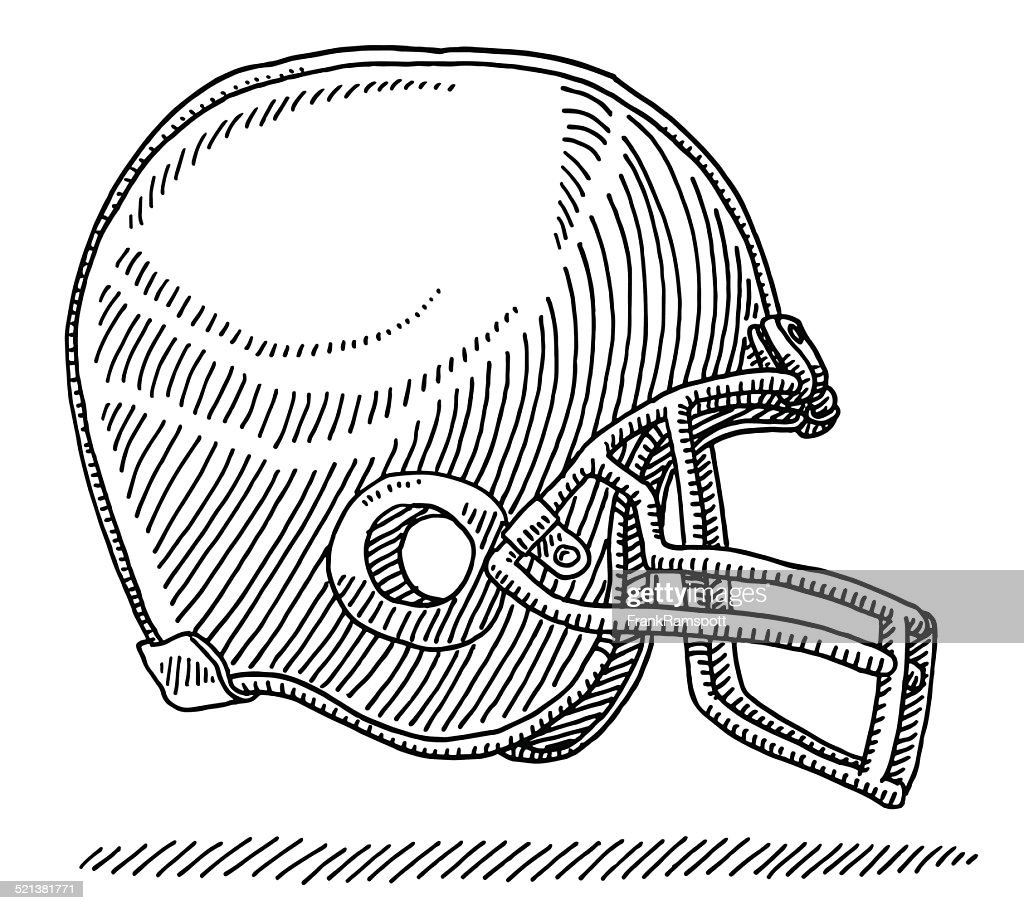 American Football Helmet Side View Drawing Vector Art Getty Images