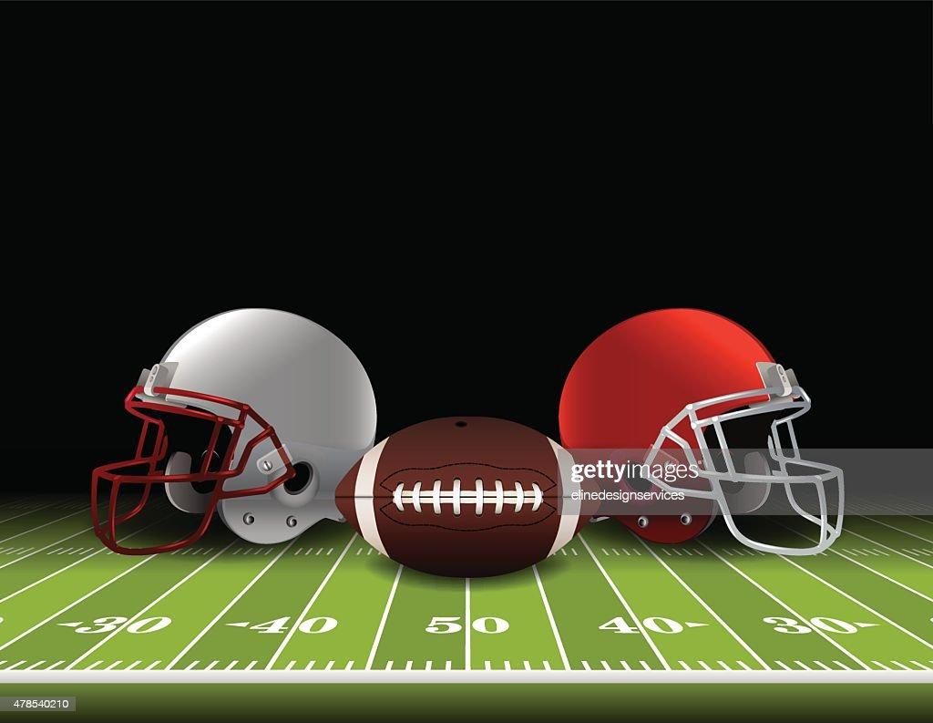 American Football Helmets and Ball on Field