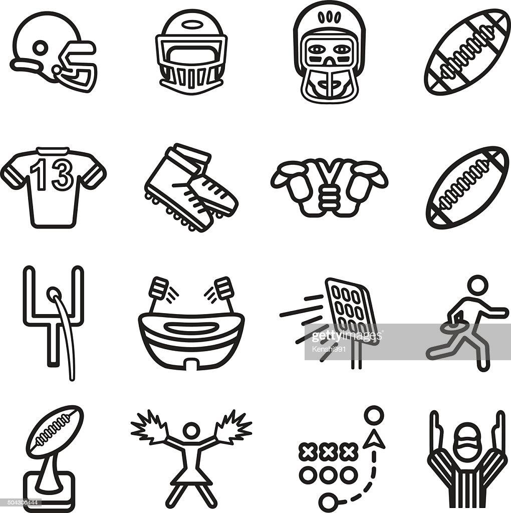 American football icon set. Vector eps10.