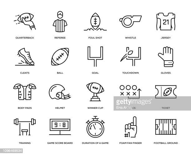 american football icon set - match sport stock illustrations, clip art, cartoons, & icons