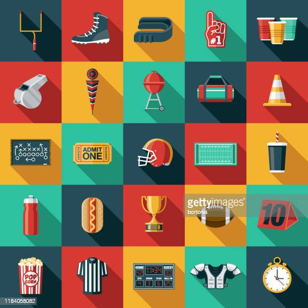 american football icon set - whistle blackboard stock illustrations