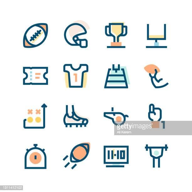 american football icon set - football league stock illustrations