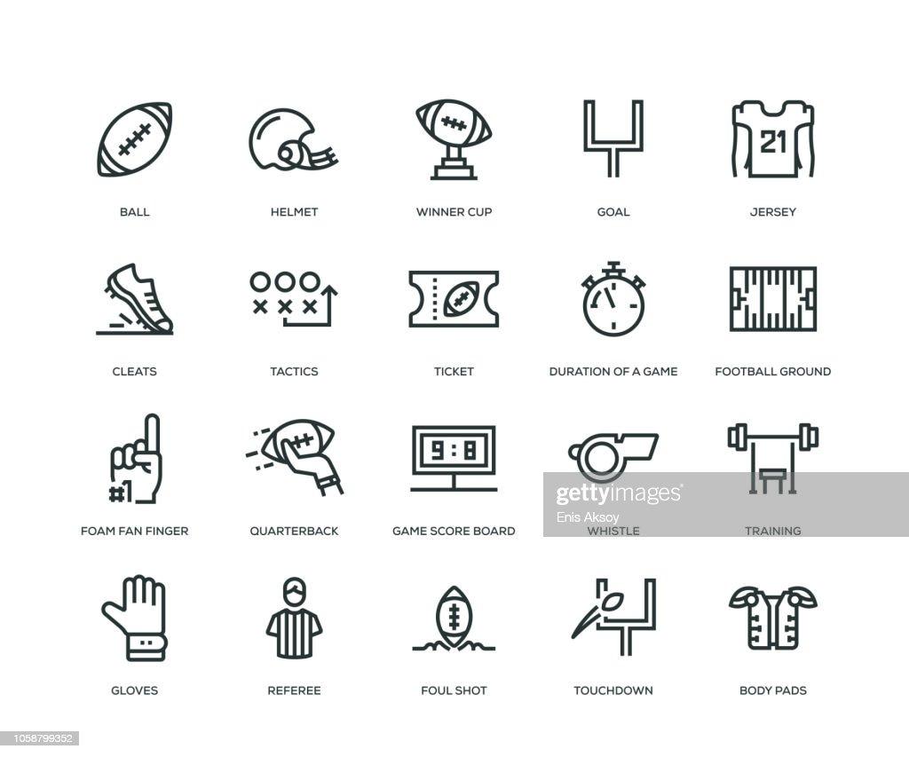 Ícones de futebol americano - linha série : Ilustração