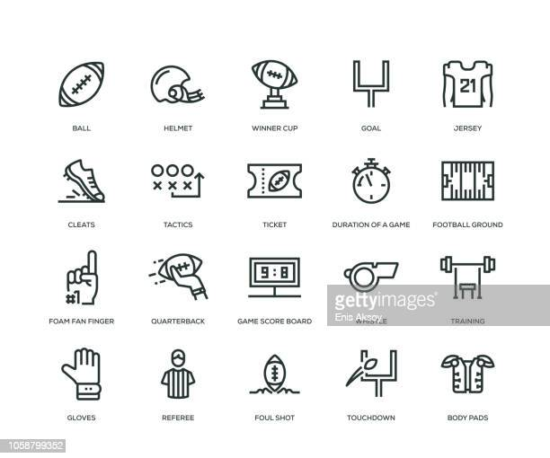 stockillustraties, clipart, cartoons en iconen met american football icons - line serie - football