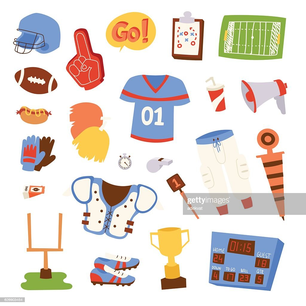 American football icons vector set.