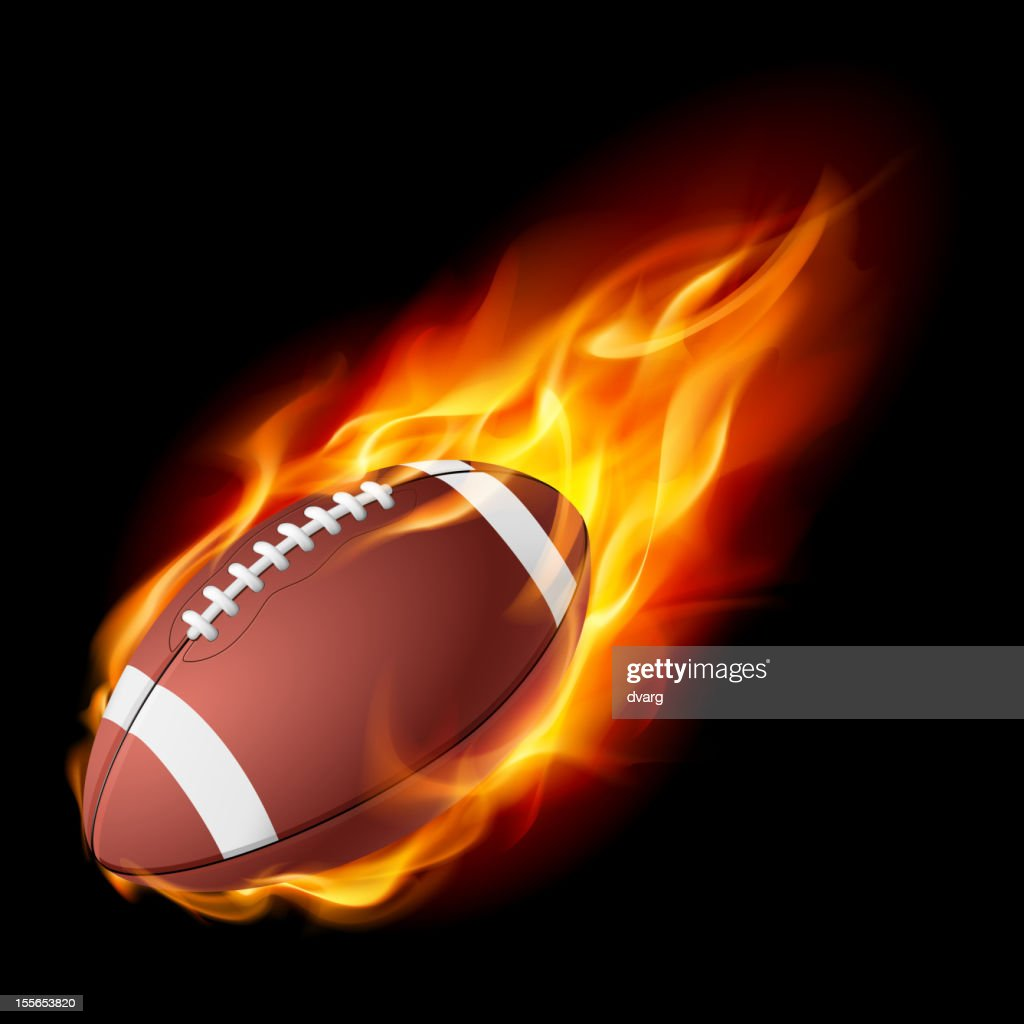 American football in the fire.