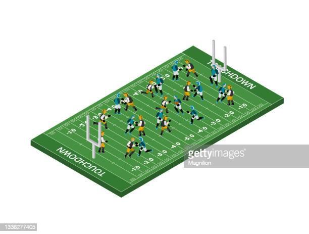 アメリカンフットボールアイソメトリック - アメリカンフットボールのフィールドゴール点のイラスト素材/クリップアート素材/マンガ素材/アイコン素材