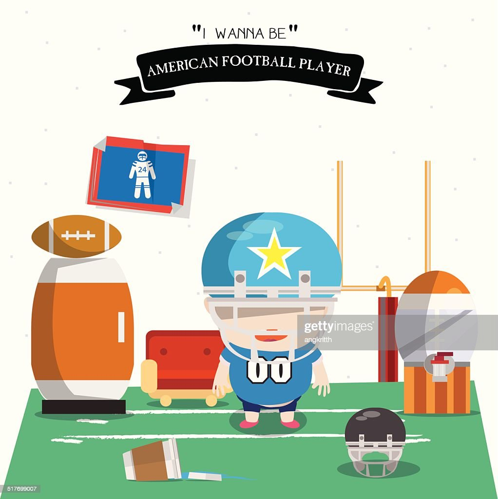 American football kid character - vector illustration