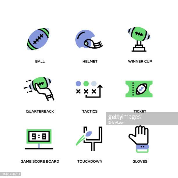 American Football Line Icon Set