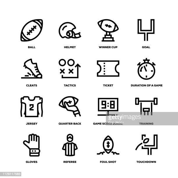 american football line icons - american football judge stock illustrations