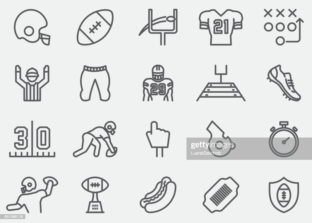 American Football Line Icons : stock illustration