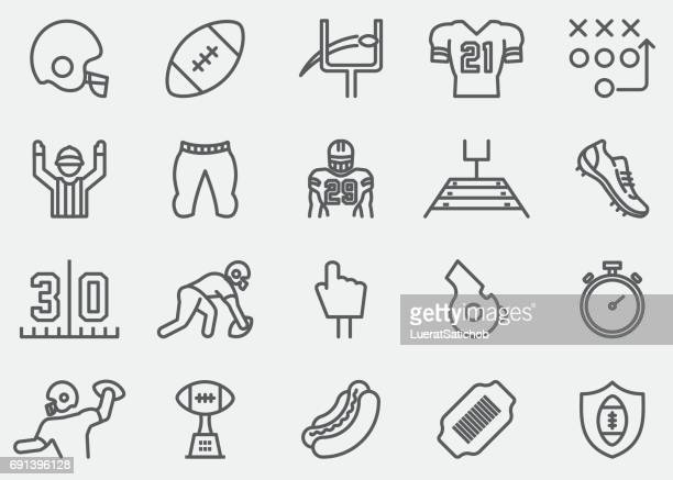 american football line icons - football league stock illustrations