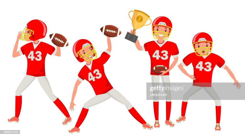 American Football Man Player Male Vector. Professional Championship. Strong Man. Cartoon Athlete Character Illustration