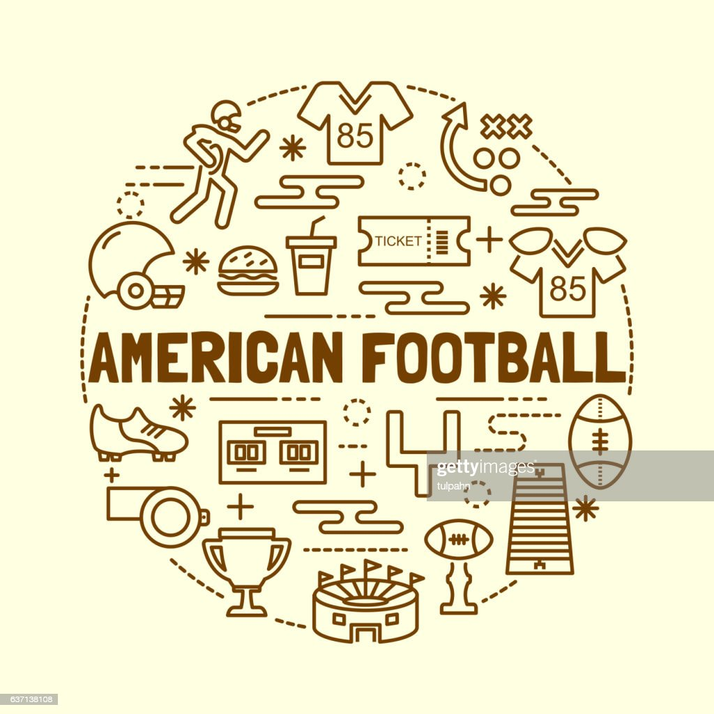 american football minimal thin line icons set