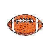 American football on whiteillustration.