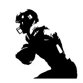 American football player, abstract isolated silhouette. Ink drawing. Team sport athlete