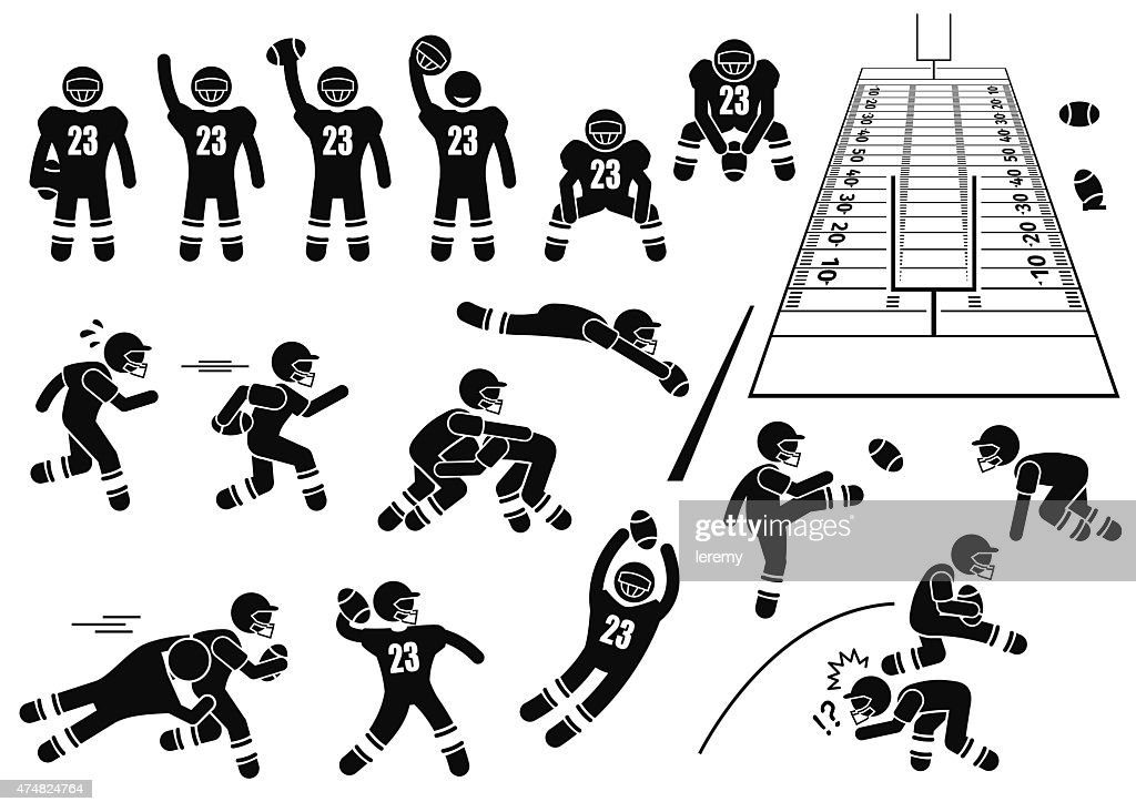 American Football Player Actions Poses Stick Figure Pictogram Icons