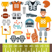 American football player and icons vector cartoon style