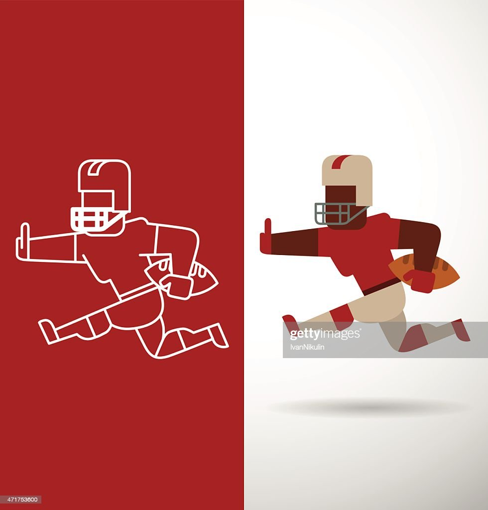 American football player, flat and line