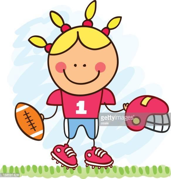Jogador de Futebol Americano de rapariga mulher ilustração