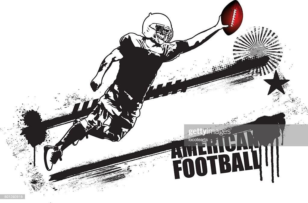 american football player jumping with grunge banner