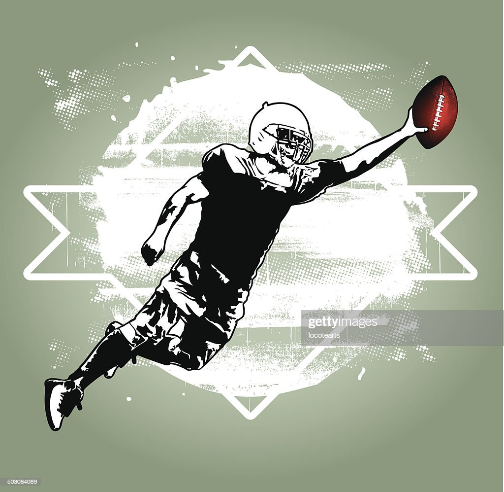 american football player jumping with white grunge background