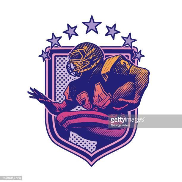 ilustrações, clipart, desenhos animados e ícones de execução de jogador de futebol americano. projeto liso - american football sport