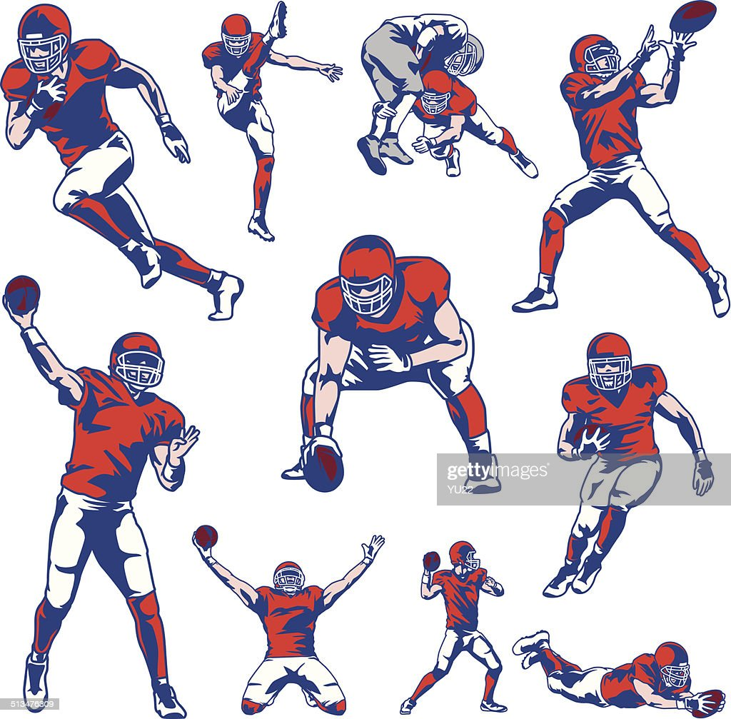 American Football Player Set : stock illustration