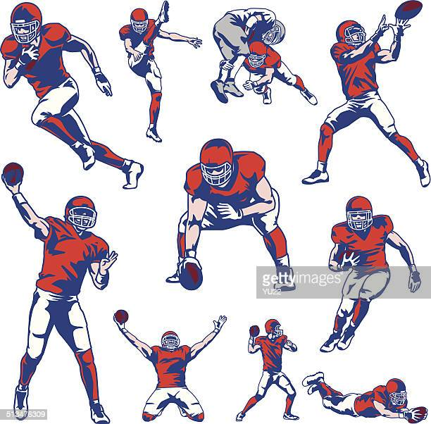 american football player set - quarterback stock illustrations