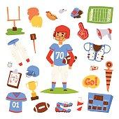 American football player vector set.