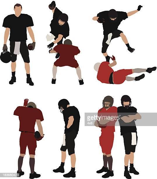 stockillustraties, clipart, cartoons en iconen met american football players in action - hoofddeksel