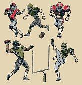 American Football Players - Retro Style