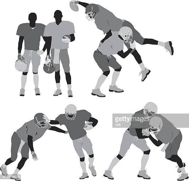 american football players tackling - tackle american football player stock illustrations