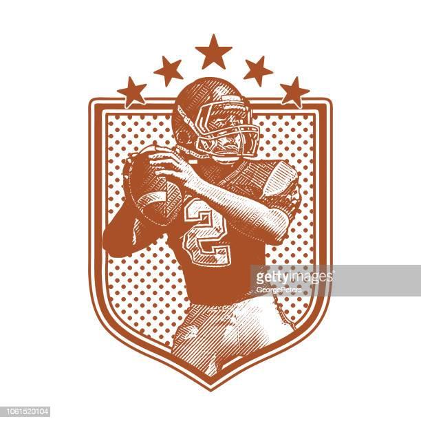 american football quarterback passing football, flat design - american football sport stock illustrations