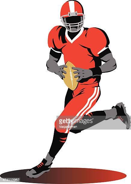 American Football- Quarterback a correr com a bola